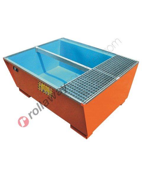 Vasca di raccolta da 1000 litri in acciaio verniciata con interno in polietilene e griglia 1345 x 1655 x 730 mm