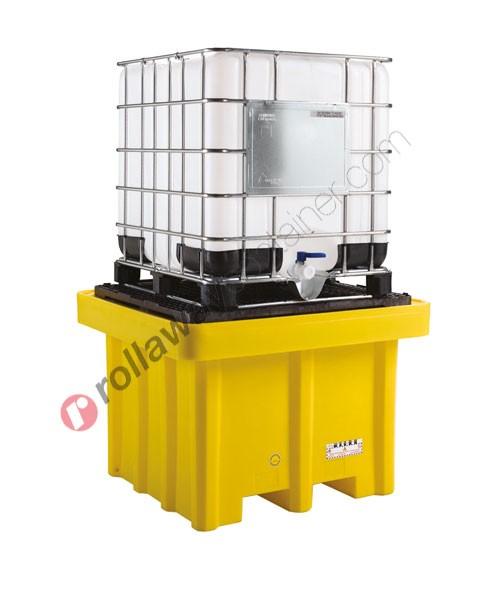 Vasca di raccolta da 1050 litri in polietilene per cisterne con griglia 1350 x 1350 x 970 mm