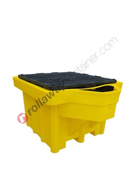 Vasca di raccolta da 1050 litri in polietilene per cisterne con griglia e salvagoccia 1350 x 1650 x 970 mm