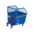 Benna ribaltabile per muletto con 4 ruote gran volume portata 500-600 kg
