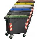 Cassonetti raccolta differenziata spazzatura, rifiuti e immondizia da 1100 litri con 4 ruote