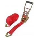 Cinghia a cricchetto ergonomico per fissaggio e fermacarico da 50 mm con gancio uncino
