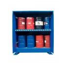 Container di stoccaggio in acciaio 3120 x 1450 mm con vasca di raccolta per fusti da 200 lt su grigliato