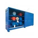Container di stoccaggio in acciaio 6240 x 1450 mm con vasca di raccolta per fusti da 200 lt in orizzontale