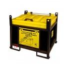 Contenitore batterie esauste in polietilene e telaio in acciaio chiuso