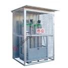 Deposito box bombole gas compressi in acciaio zincato con telaio portante 1550 x 1210 mm
