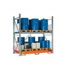 Scaffalatura metallica con vasca di contenimento per 16 fusti da 200 lt in verticale su 2 piani