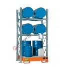 Scaffalatura metallica con vasca di contenimento per 4 fusti da 200 lt in orizzontale e 2 fusti da 200 lt in verticale