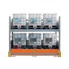 Scaffalatura metallica con vasca di contenimento per 6 cisterne da 1000 lt su 2 piani