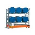 Scaffalatura metallica con vasca di contenimento per 6 fusti da 200 lt in orizzontale su 2 piani