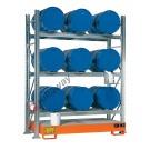 Scaffalatura metallica con vasca di contenimento per 9 fusti da 200 lt in orizzontale su 3 piani