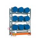 Scaffalatura metallica con vasca di contenimento per 9 fusti da 60 lt in orizzontale su 3 piani