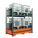 Scaffalatura metallica con vasca di contenimento per 4 cisterne da 1000 lt su 2 piani