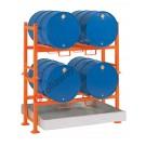 Stazione di stoccaggio per fusti olio con vasca di raccolta da litri 270