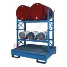 Stazione di stoccaggio per fusti olio con vasca di raccolta da litri 300
