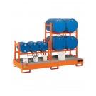 Stazione di stoccaggio per fusti olio con vasca di raccolta mm 2720 x 1250 x 300