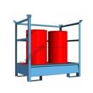 Vasca di raccolta liquidi da 200 litri in acciaio verniciata con griglia e parete a fascia 1460 x 960 x 1400 mm per 2 fusti