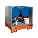 Vasca di raccolta liquidi in acciaio verniciata con griglia e pareti laterali asportabili 1340 x 1250 x 300 mm per 4 fusti