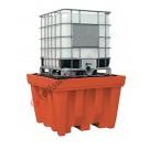 Vasca di raccolta da 1150 litri in polietilene per cisterne con griglia 1420 x 1420 x 1000 mm