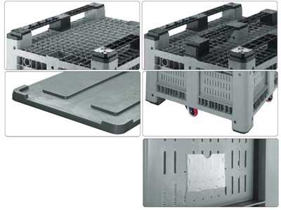 Accessori per contenitore in plastica per industria 1200 x 800 H 760 pesante litri 470 forato
