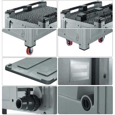 Accessori per contenitore in plastica 1200 x 1000 H 850 pesante litri 760