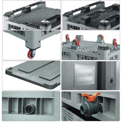 Accessori per cassone in plastica 1200 x 1000 H 760 pesante litri 610
