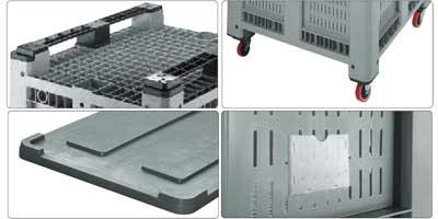 Accessori per bins in plastica 1130 x 1130 H 760 pesante litri 660 forato