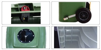 Accessori bidoni raccolta differenziata spazzatura e immondizia da 120 litri con 2 ruote