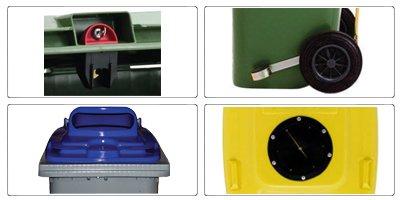 Accessori bidoni raccolta differenziata spazzatura e immondizia da 360 litri con 2 ruote