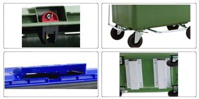 Accessori cassonetti raccolta differenziata spazzatura, rifiuti e immondizia da 660 litri con 4 ruote
