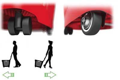Accessori cestone spesa in plastica con ruote 66 litri