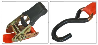 Accessori cinghia a cricchetto per fissaggio moto da 25 mm con gancio a esse rivestito