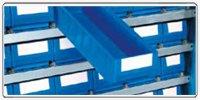 Armadio officina blu RAL 5012 con ripiani, contenitori e contenitori RK