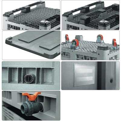 Accessori per cassone in plastica 1200 x 800 H 580 pesante litri 330