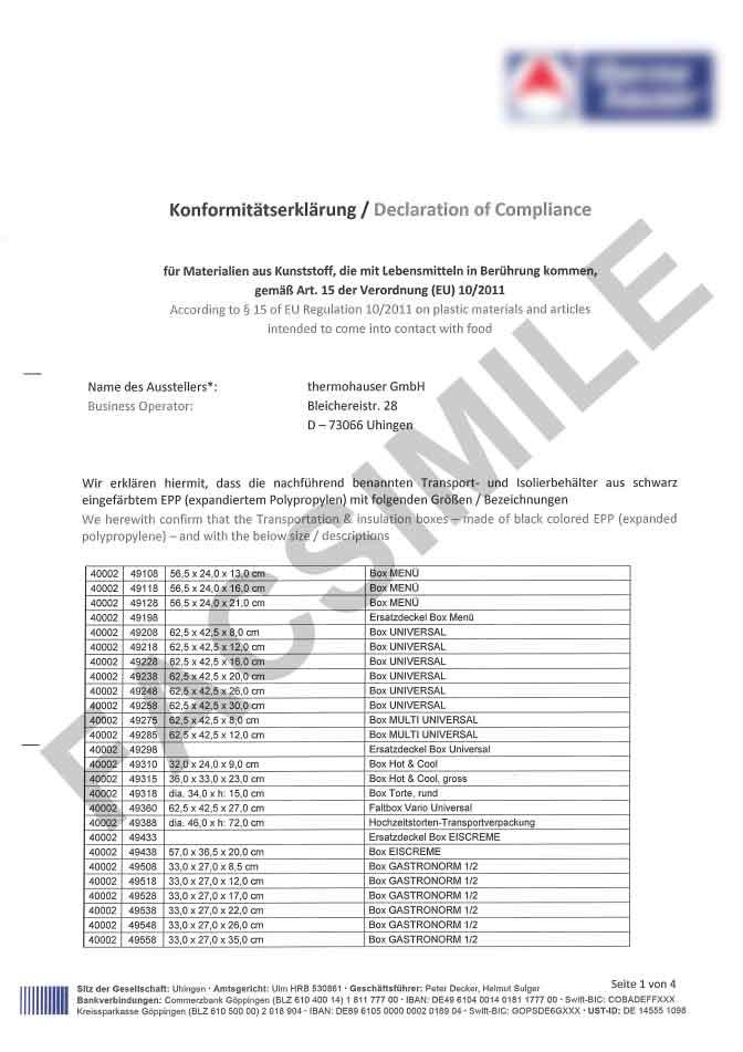 Certificato idoneità contatto diretto con gli alimenti pagina 1