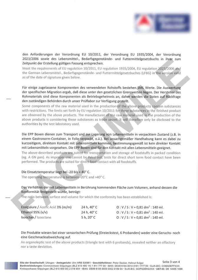 Certificato idoneità contatto diretto con gli alimenti pagina 3