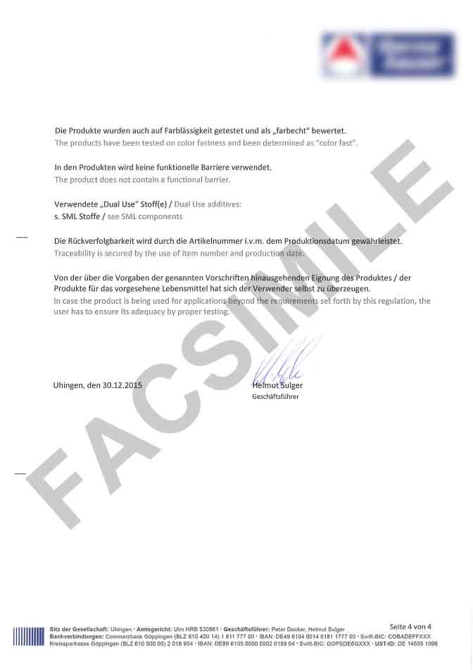 Certificato idoneità contatto diretto con gli alimenti pagina 4