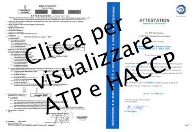 Certificazione ATP trasporti fresco e surgelati ed attestato HACCP