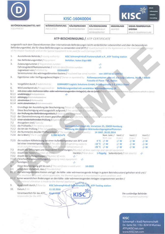 Certificato atp tedesco per trasporti fresco e surgelato con contenitori isotermici per alimenti