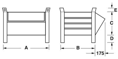 Dimensioni contenitore a bocca di lupo con piedi scatolati