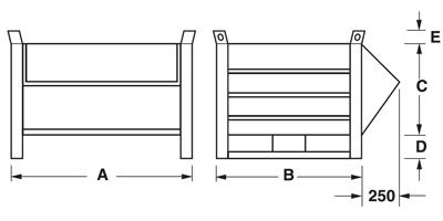 Dimensioni contenitore a bocca di lupo con slitte lato corto