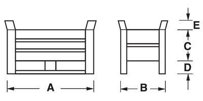Dimensioni contenitore in lamiera mini con slitte lato lungo