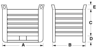 Dimensioni contenitore in lamiera pesante alto con slitte lato lungo