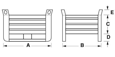Dimensioni contenitore in lamiera pesante basso con slitte lato lungo