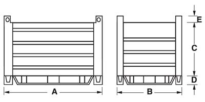 Dimensioni contenitore in lamiera pesante con slitte in piatto sui 4 lati gran volume