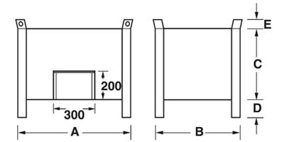 Dimensioni contenitore in lamiera piccolo con piedi scatolati, pareti lisce e porta a ghigliottina