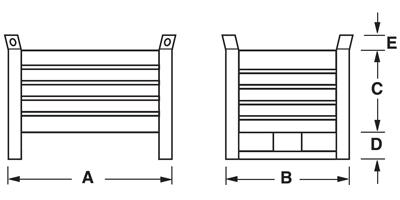 Dimensioni contenitore in lamiera piccolo con slitte lato corto