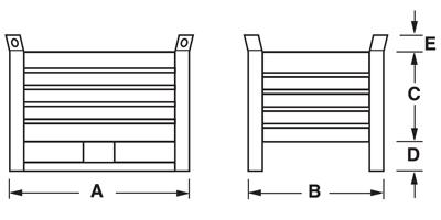 Dimensioni contenitore in lamiera piccolo con slitte lato lungo