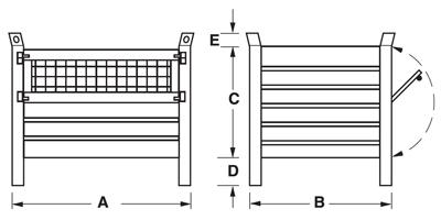 Dimensioni contenitore in lamiera con piedi scatolati e porta in rete