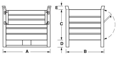 Dimensioni contenitore in lamiera con slitte lato lungo e porta in lamiera